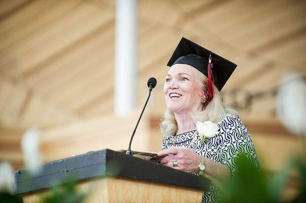 Retiring Aspen High School guidance counselor Kathy Klug speaks at the 2018 graduation ceremony on Saturday at the Benedict Music Tent.
