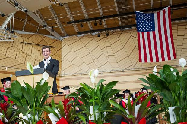 Olympian Alex Ferreira gives his speech as this year's commencement speaker for the Aspen High School graduation ceremony on Saturday at the Benedict Music Tent.