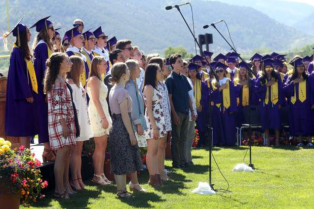 The Basalt High School chamber choir sings the national anthem during Saturday's graduation ceremony.