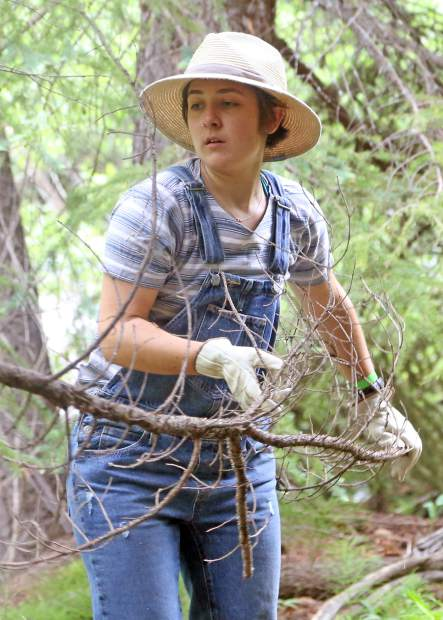 Kyrstin Kempf clears branches near the Aspen Camp of the Deaf and Hard of Hearing headquarters on Saturday in Old Snowmass. This past weekend was the camp's annual