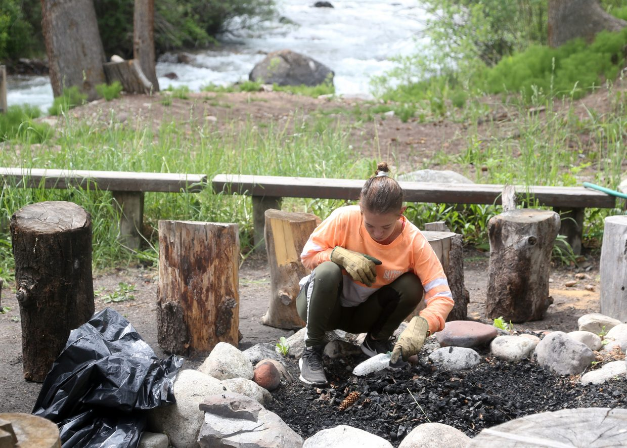 Elizabeth Amato works during the Aspen Camp of the Deaf and Hard of Hearing's volunteer weekend on Saturday, June 16, 2018.