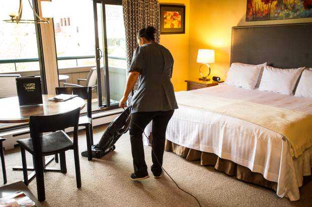 It takes 90 minutes to two hours to clean a studio apartment at Aspen Square Condominiums, followed by an inspection by a supervisor.