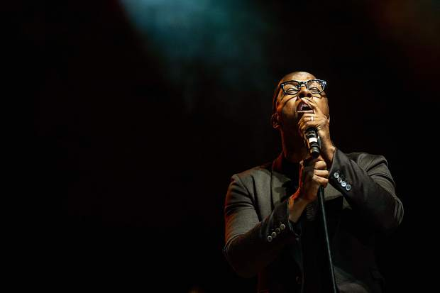 Leslie Odom, Jr. singing with his band Friday night at the Benedict Music Tent for the JAS June Experience.