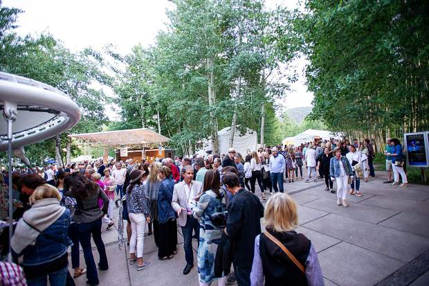 The line outside of the Benedict Music Tent on Saturday night for the JAS June Experience.