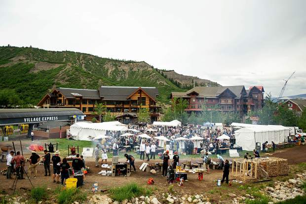 The scene for the Heritage Fire event at the base of Fanny Hill in Snowmass on Saturday.