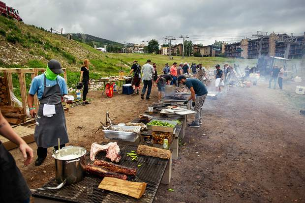Various chefs cook over open fire at the base of Fanny Hill at Snowmass on Saturday for Heritage Fire.