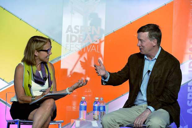Katie Couric, left, and interviewed Colorado Gov. John Hickenlooper during a 2014 Aspen Ideas session titled, 'What's the Dope on Pot?' Both will be in Aspen again this year.