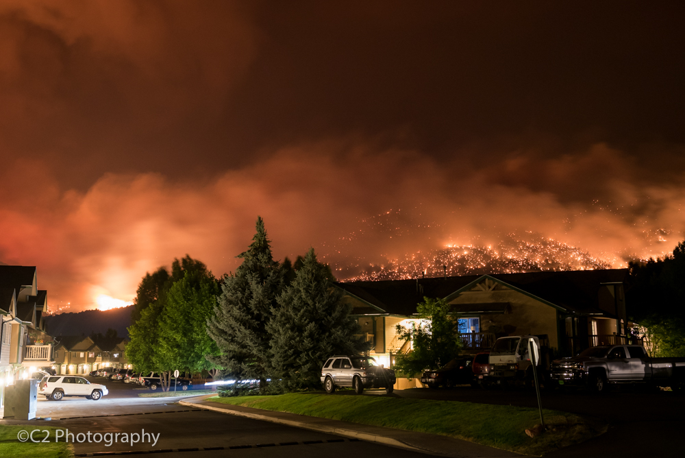 A view of the Lake Christine fire as it rises behind Elk Run in Basalt late Wednesday night.