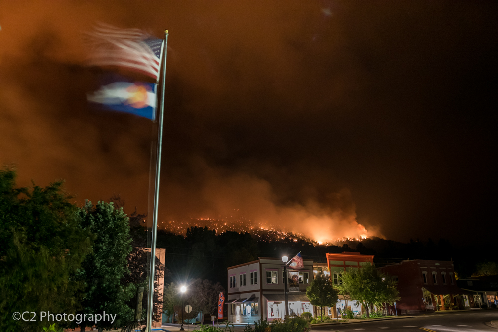 The streets of downtown Basalt were deserted late Wednesday night as the Lake Christine fire burns at the base of Basalt Mountain.