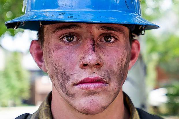 Oregon firefighter Martin Sierra after working the line on the Lake Christine Fire on Sunday afternoon.