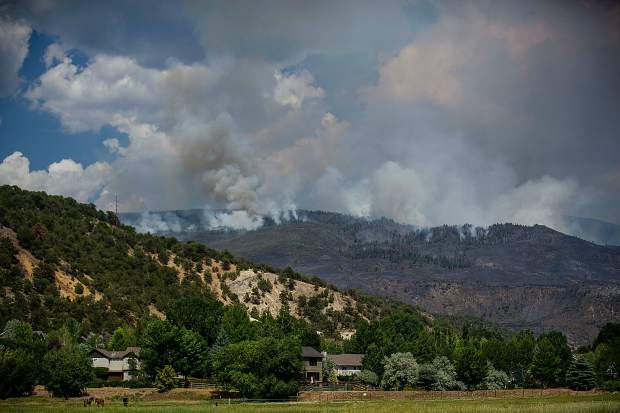 The Lake Christine fire seen from Dakota Drive on Friday.