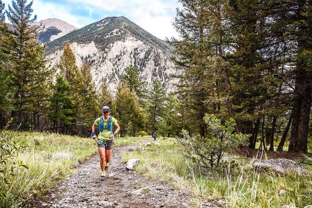 Longtime Summit County local Hannah Taylor died due to an accident while mountain running in the Gore Range on Saturday. The Summit Nordic Ski Coach and Summit Huts Association managing director is pictured here during the race where she took first-place overall for women at the first-annual High Lonesome 100 Miler ultra-endurance race in Salida on July 28, 2017. Taylor finished in 29 hours and 59 minutes — nearly two hours ahead of the next-fastest woman.on the course.
