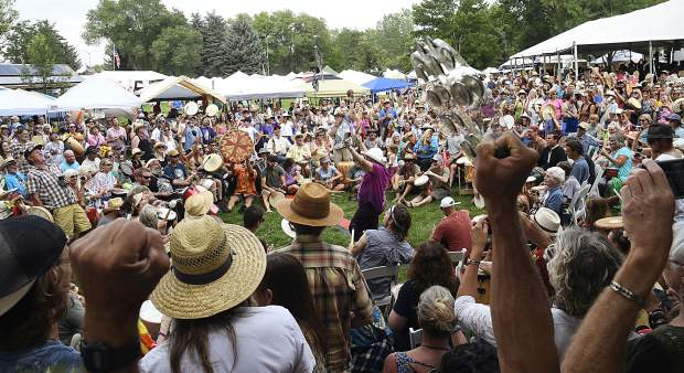 The Rhythm of the Heart Community Drum Circle, opening night of the Carbondale Mountain Fair.
