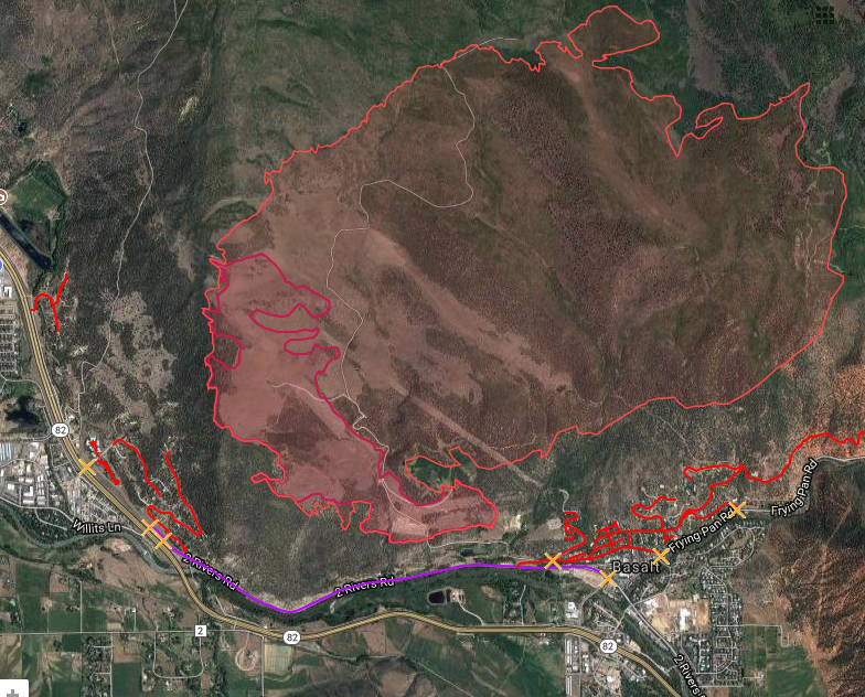 A map as of 7 p.m. Wednesday shows the nearly 3,000 acres that have burned in the Lake Christine Fire near Basalt.