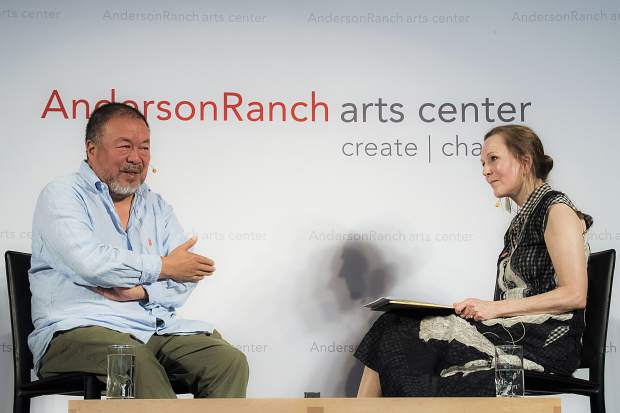 Ai Weiwei was interviewed by Alexandra Munroe, curator for Asian art at the Guggenheim Museum, at Schermer Meeting Hall on the Snowmass Village campus of Anderson Ranch. He is in town to accept the Ranch's International Artist Award.