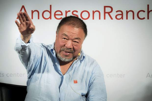 Artist and activist Ai Weiwei speaks Wednesday at Schermer Meeting Hall on the Snowmass Village campus of Anderson Ranch. He is in town to accept the Ranch's International Artist Award.