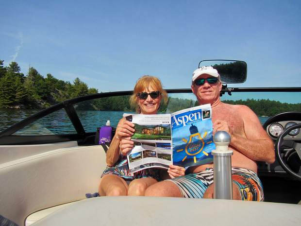 Polly Ross and Ian Long caught up with the news at home while boating around the