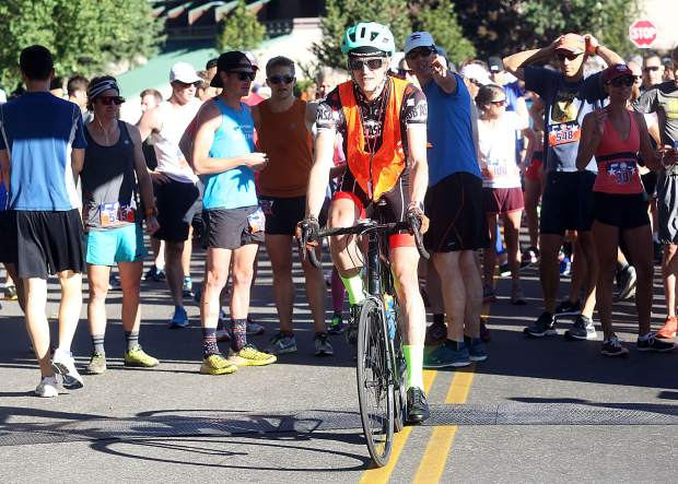Tyler Newton of the Aspen Cycling Club lead's the pack Wednesday during the 32nd annual Boogie's Buddy Race at Rio Grande Park in Aspen.