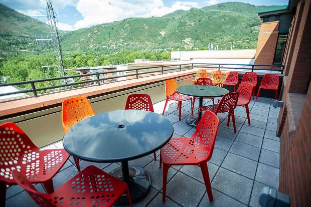 A back patio area for employees or meetings at the new Pitkin County Administration building on Friday.