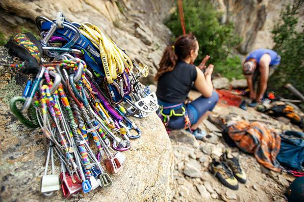 Trad climbing gear at the Grottos on Independence Pass on Saturday.