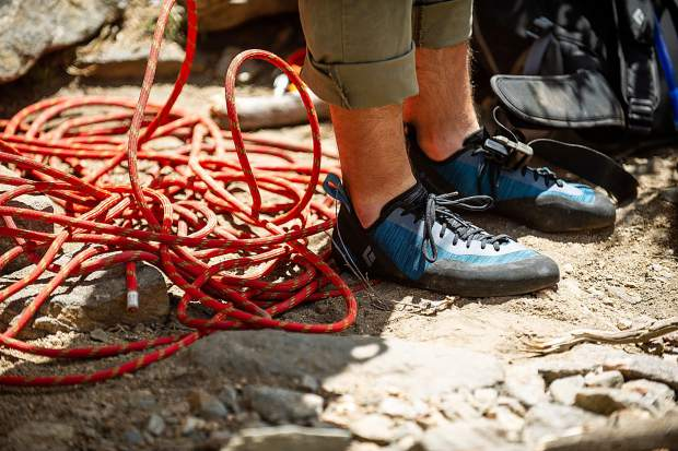 Black Diamond rock climbing shoes.