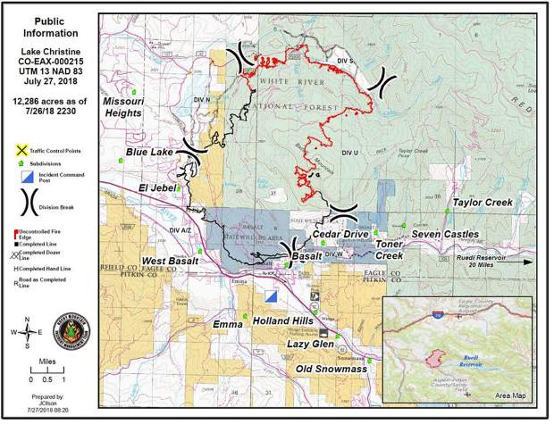 A map of the Lake Christine Fire from the Friday morning, July 27, update.