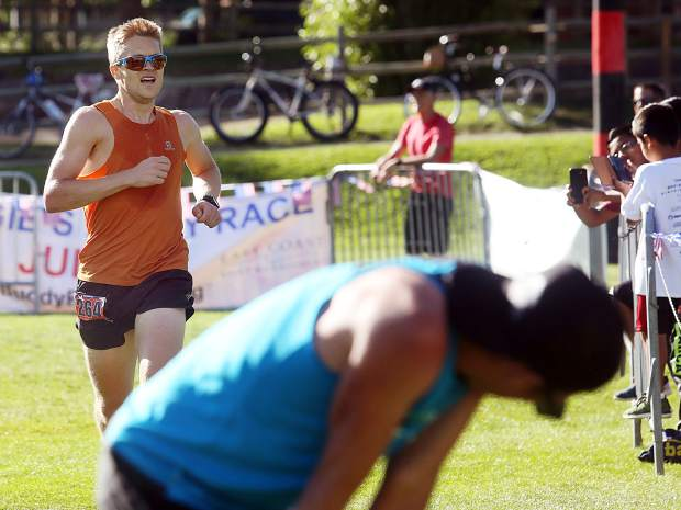 Runner-up finisher Michael Barlow approaches the finish Wednesday during the 32nd annual Boogie's Buddy Race at Rio Grande Park in Aspen.