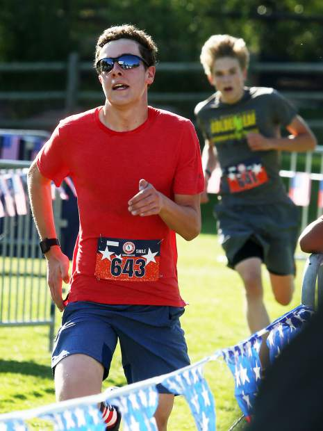 Everett Olson approaches the finish Wednesday during the 32nd annual Boogie's Buddy Race at Rio Grande Park in Aspen.