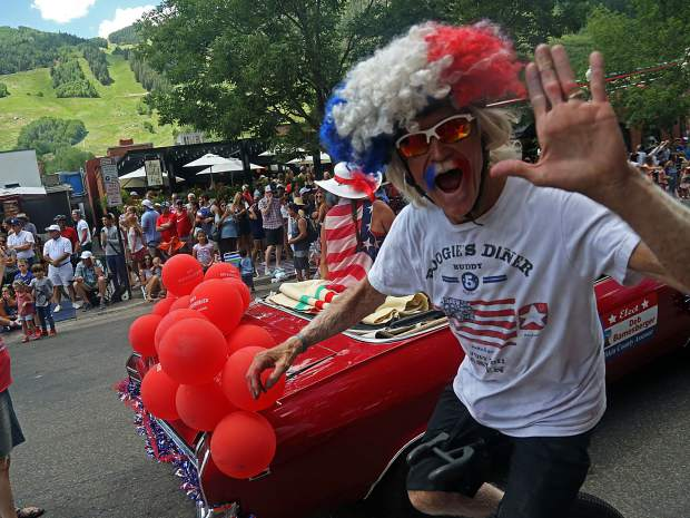 Aspen unicyclist Mike Tierney rides during the Fourth of July parade from July 4, 2018.