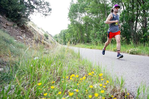 Edward Hartman of New York competes in the Aspen Valley Marathon on the Rio Grande Trail on Saturday morning. Hartman took fourth overall in the full marathon.