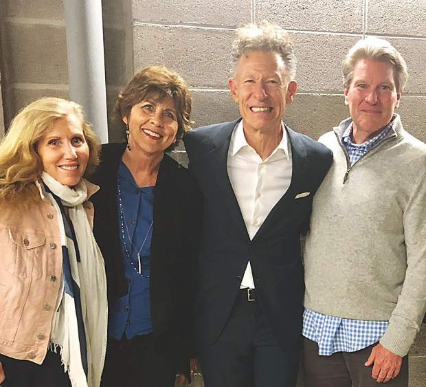 Longtime friends Dana Laughren, Rita Hunter, Lyle Lovett and David Laughren backstage at Jazz Aspen Snowmass' June Experience.