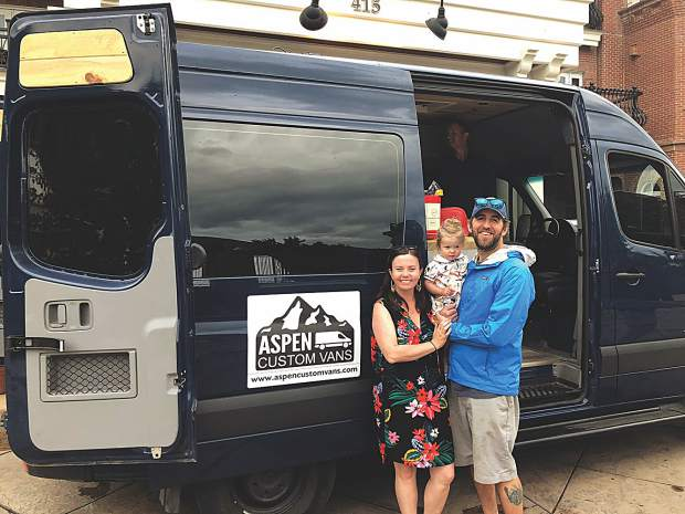 "It's a family affair: Entrepreneurs Kimbo Schirato, Taylor and Jason Schirato beside ""Blue,"" one of their Aspen Custom Vans."