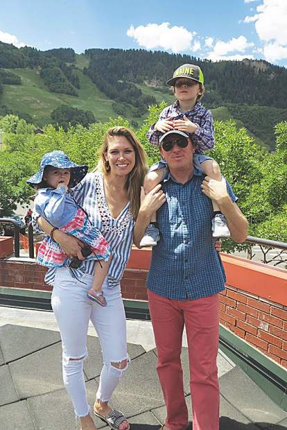 Julia and John Fullerton with daughter Daisy and son Henry on their first Fourth of July in Aspen.