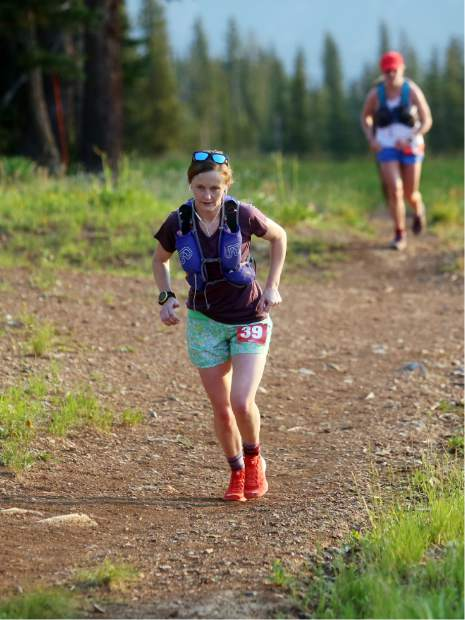 Kelly Ahern makes her way up Aspen Mountain during the Power of Four trail run on Sunday, July 29, 2018. Ahern was one of two women disqualified for mistakenly going off course. (Photo by Austin Colbert/The Aspen Times).