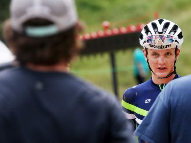 Carbondale's Levi Gavette chats after finishing fourth in the Power of Four mountain bike race on Saturday July 28, 2018. (Photo by Austin Colbert/The Aspen Times).
