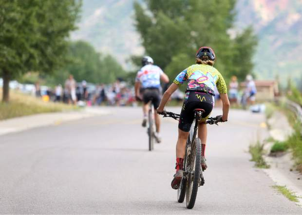 Bikers compete in the Power of Four mountain bike race on Saturday, July 28, 2018. (Photo by Austin Colbert/The Aspen Times).