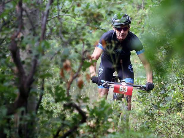 A biker competes in the Power of Four mountain bike race on Saturday, July 28, 2018. (Photo by Austin Colbert/The Aspen Times).