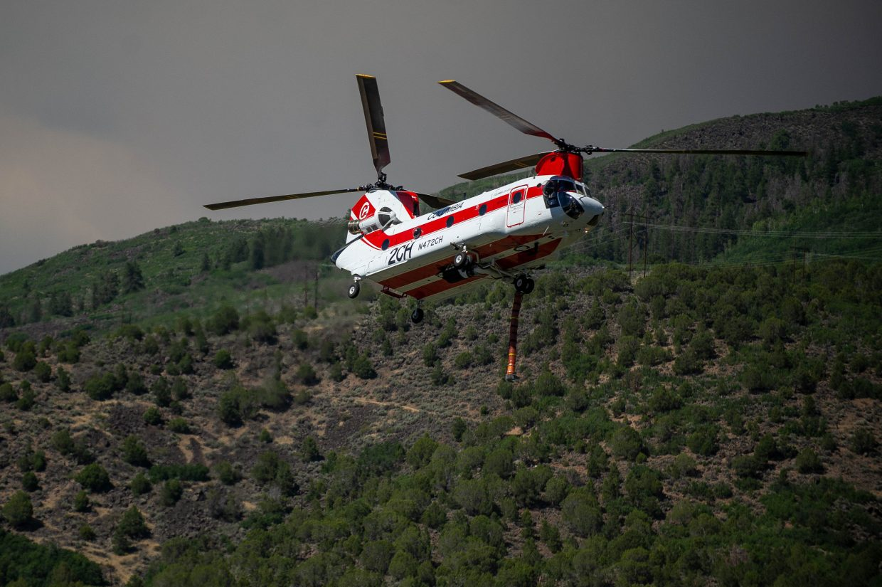 Air crews work on the Lake Christine Fire, which by Wednesday afternoon was at more than 2,300 acres.