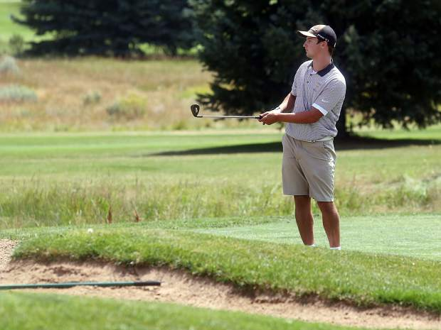 Basalt senior Tyler Dollahan competes in the Aspen High School boys golf tournament on Friday, Aug. 17, 2018 at Aspen Golf Club. (Photo by Austin Colbert/The Aspen Times).