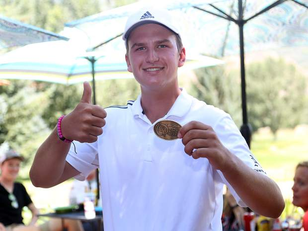 Aspen senior Colter Zwieg was the low medalist among junior varsity players at the Aspen High School boys golf tournament on Friday, Aug. 17, 2018 at Aspen Golf Club. (Photo by Austin Colbert/The Aspen Times).