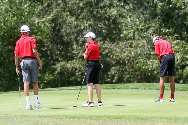 Members of the Aspen junior varsity team compete in the Aspen High School boys golf tournament on Friday, Aug. 17, 2018 at Aspen Golf Club. (Photo by Austin Colbert/The Aspen Times).