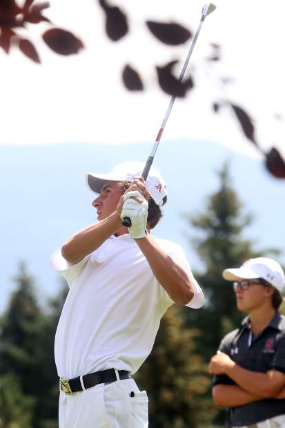 Aspen junior Jack Pevny competes in the Aspen High School boys golf tournament on Friday, Aug. 17, 2018 at Aspen Golf Club. (Photo by Austin Colbert/The Aspen Times).