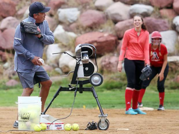 The Aspen High School softball team practices Tuesday, Aug, 21, at Upper Moore Field.