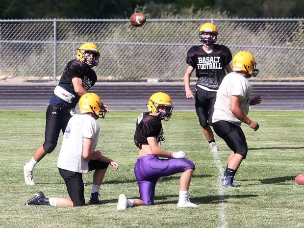 The Basalt High School football team practices on Tuesday, Aug. 28, 2018.