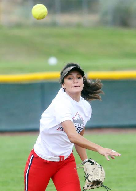 Senior Afton Larsen, who attends Glenwood Springs High School but competes for the Basalt High School softball team, practices Aug. 16 on the BHS field.