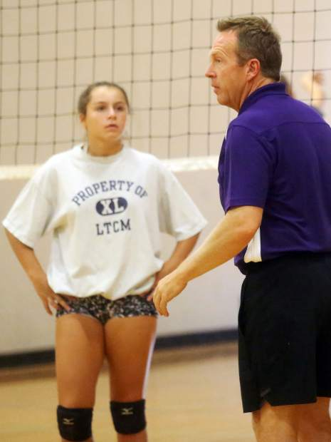 Basalt High School volleyball coach David Chadbourne goes over drills during practice on Tuesday, Aug. 28, 2018. (Photo by Austin Colbert/The Aspen Times).