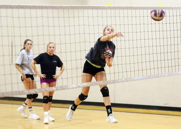 Basalt High School sophomore Karina Bauer works on drills during volleyball practice on Tuesday, Aug. 28, 2018. (Photo by Austin Colbert/The Aspen Times).