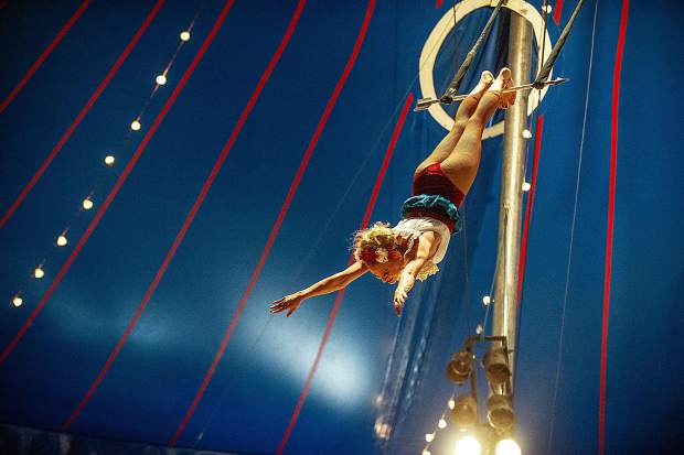 Catherine Rios swings through the trapeze.