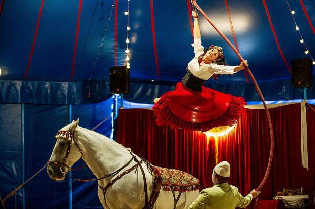 Tosca Zoppe performs in the Zoppe Family Circus tent at the first performance on Aug. 17.