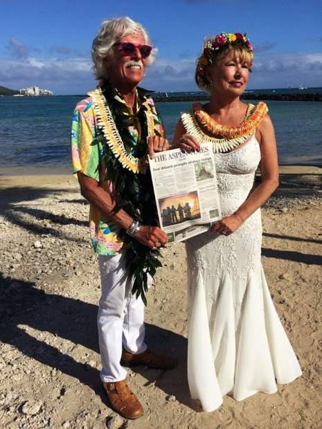 Jag and Jackie Pagnucco of Aspen had their Aspen Times with them when they were married June 7, on Oahu, Hawaii.